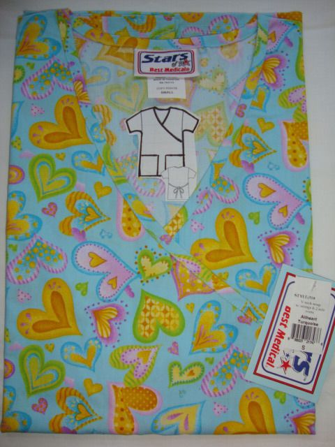 518, BRAND New Nurses Uniform Scrub Mock wrap Printed Tops XS 3XL