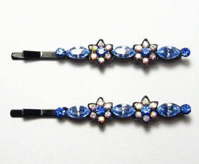 FLORAL BLUE AUSTRIAN RHINESTONE CRYSTAL HAIR CLIPS BARRETTE BODY PIN