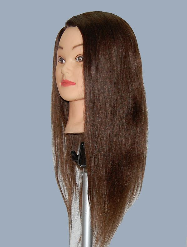 24 Cosmetology Mannequin Head HUMAN Hair WITH Clamp L