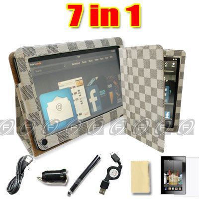 Leopard Kindle Fire Leather Case Cover/Stylus/Car Charger/USB Cable