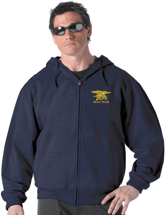 Seal Trident Sweatshirt Sweat Jacket USN Spec Ops Military Zip Hoodie