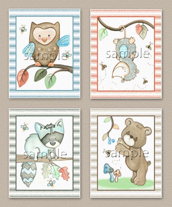 Forest friends, Nursery baby kids wall art. Owl.Raccoon