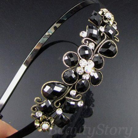 SHIPPING antiqued rhinestone crystal flower hair band headband