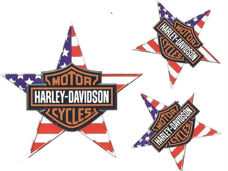 Harley Davidson Bar & Shield American Flag Star Tattoo